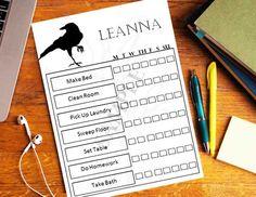 Printable Raven Chore Chart / Kids Printable Chore Chart / Behavior Chart / Reward Chart / To do Chart / Editable chore chart