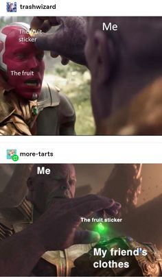don't like fruit stickers those suckers gross me out so I can't relate. But these memes they next levelI don't like fruit stickers those suckers gross me out so I can't relate. But these memes they next level Avengers Humor, Funny Marvel Memes, Marvel Jokes, Loki Meme, Marvel Avengers, Marvel Comics, All Meme, Stupid Funny Memes, Funny Relatable Memes