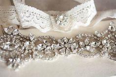 Bridal garter set - Hearts ivory