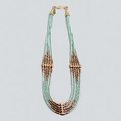 Sea Green Glass Bead, Gold Nugget and Brass Spacer Cascade Necklace