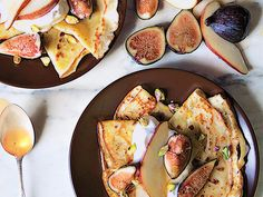 Cornmeal Crepes with Figs and Pears Recipe  at Epicurious.com