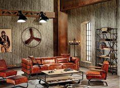 Nuantele inchise definesc perfect stilul industrial  #living #industrial #loft #sofa #canapea #kikaromania