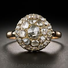 Antique Rose-Cut Diamond Cluster Ring - 10-1-6321 - Lang Antiques Diamond Cluster Ring, Rose Cut Diamond, Vintage Diamond Rings, Vintage Rings, Antique Roses, Antique Jewelry, Beaded Jewelry, Vintage Jewelry, Jewelry Rings