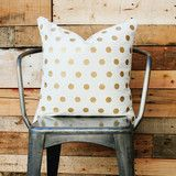 Our gold foil polka dot 20x20 pillow cover with a zipper sewn in at the bottom. All of our pilllows...