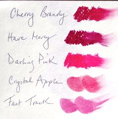 True Winter  Lipstick  1. Darling Pink (High Gloss) (3.9) (beautiful clear violet-fuchsia pink)  2. Have Mercy (Creme) (4.8 – 4.9) (purpley pomegranate)  3. Cherry Brandy (Matte) (coolest darkest on Sci/ART fan, 5.5 but cooler)  (cranberry red, may work on all Winters)  4. Russian (all W) (Creme) (5.1-6.1) (cool coral red, looks more orange  indoors, warm pink-red in daylight, nice coral for DW)  Blush  1. Crystal Apple (4.5, a bit bluer and clearer) (will work alone or mixed  with a TSu…