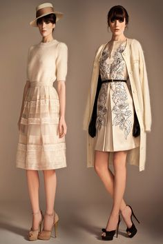 temperley london pre fall 2013 half sleeve sweater skirt floral dress knit long cardigan