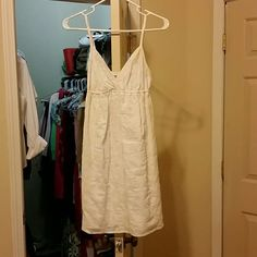 Mossimo Summer Dress White with a tan embroidered pattern on it, this dress is so cute for summer. In excellent condition. Only worn a few times. Mossimo Supply Co Dresses Mini