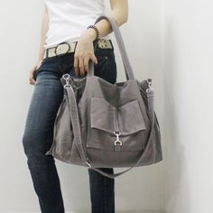 Etsy - Kinies - EZ Canvas Bag in GRAY - Double Strap Shoulder Bag / Tote / Cross Body Messenger