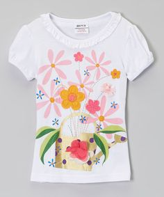 Look what I found on #zulily! White & Pink Flower Cap-Sleeve Tee - Infant, Toddler & Girls #zulilyfinds