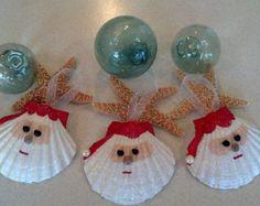 Santa Oyster Seashell Christmas Ornament by CathysCoastCreations
