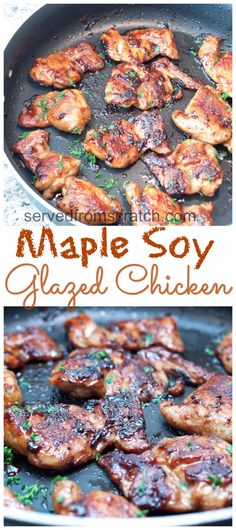 These Maple Soy Glazed Chicken Thighs are easy, delicious, and different than your regular chicken recipe! They're always a hit in our house and with guests! #maplesoychicken #glaze #glutenfree #recipe #easy #thighs Quick Weeknight Meals, Easy Meals, Maple Chicken, Chicken Glaze, Soy Sauce Chicken, Chicken Pho, Teriyaki Chicken, Garlic Chicken, Fish Sauce