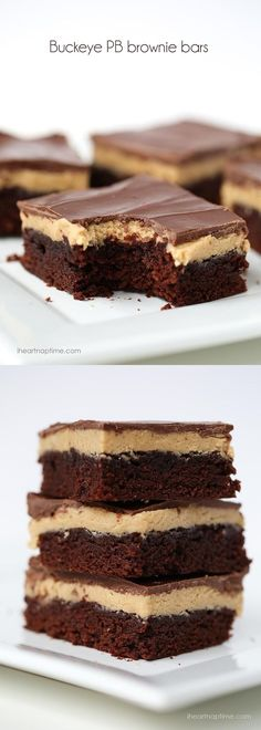 Chocolate peanut butter buckeye brownies -layers of chocolate and peanut butter filled in one delicious bar. These are heavenly.