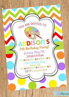 Art party invitation painting party arts and crafts invite art party invitation painting party arts and crafts invite printable 1200 via etsy sarahs birthday pinterest art party invitations art party stopboris Images