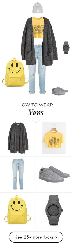 """Untitled #3"" by souperiority on Polyvore featuring Current/Elliott, H&M, Vans, CC and MyFaveTshirt"