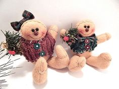 Gingerbread Couple Boy and Girl Dolls Soft Sculpture by Holiday365