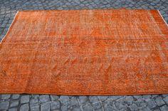Orange Overdyed Area Rug, Turkish Handmade Oushak Carpets, Vintage Overdyed Rugs, Size is (263 cm x 159 cm)  8,6  feet x 5,2 feet model: 357 by OushakRugs on Etsy
