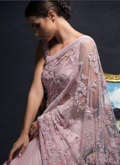 Buy Most Demanded Baby Pink Naylon Mono Net Fancy Thread Work Saree Online Fancy Sarees Party Wear, Saree Designs Party Wear, Saree Blouse Designs, Party Wear Sarees Online, Indian Fashion Dresses, Indian Outfits, Indian Gowns, Indian Clothes, Indian Sarees