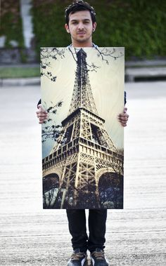 "Your Photo on Wood - Free Base With Most Orders Eiffel Tower 20""x40"" from our Photo Collection (smaller sizes available) Your Photos on Wood..."