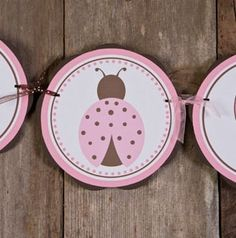 ITS A GIRL Baby Shower Banner - Ladybug Baby Shower Decorations in Pink and Brown