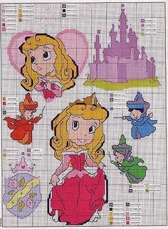 my Prinsesse Aurora Cross Stitch Disney, Disney Cross Stitch Patterns, Cross Stitch For Kids, Cross Stitch Baby, Cross Stitch Charts, Cross Stitch Designs, Cross Stitching, Cross Stitch Embroidery, Stitch Character