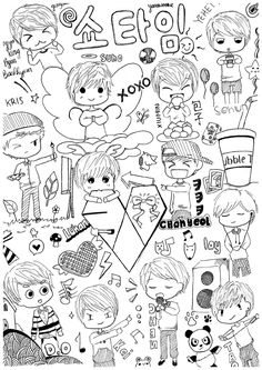 2017 Jun 17 - first time drawing exo chibi fanart to draw this though i'm not really good on this kind of drawing hehehe inspired by misunderstoodpotato . her drawings are relly goooood ^^ also p. Kpop Exo, Chanyeol Baekhyun, Lightstick Exo, Btob, L Wallpaper, Exo Group, Exo Fan Art, Exo Lockscreen, Kpop Drawings