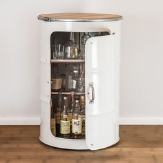 Outstanding DIY Coffee Bar Ideas for Your Cozy Home / Coffee ShopI love the idea . I'd do this with an older, more detailed, cabinet and painted in a different color . maybe add Oil Barrel, Barrel Bar, Metal Barrel, Home Bar Furniture, Barrel Furniture, Cool Furniture, Metal Furniture, Tonneau Bar, Casa Retro
