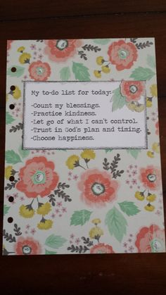 Filofax A5 size dashboard/divider with inspirational quote