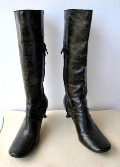 COSTUME NATIONAL Dark Green Leather Knee-high Boots Italy RRP $3000 As New #COSTUMENATIONAL #FashionKneeHigh