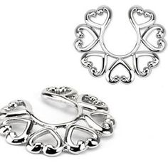 Vintage Hearts Silver Tone Fake Piercing Clip On Nipple Ring Pair