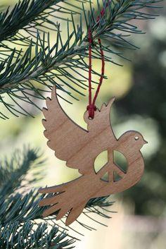 Peace Dove - Laser Cut Alder Wood Ornament - Organic Home Decor by HippieGeekStudios on Etsy https://www.etsy.com/listing/479349042/peace-dove-laser-cut-alder-wood-ornament