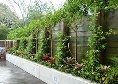 idee voor een smalle border en kleine tuin.