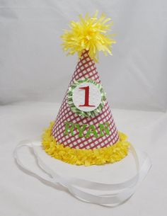 1st Birthday Gingham Party Hat Boy by CardsandMoorebyTerri on Etsy, $12.00