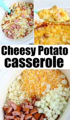 Crockpot cheesy potatoes are a great breakfast, brunch or dinner too! Cheesy wit… Crockpot cheesy potatoes are a great breakfast, brunch or dinner too! Cheesy with diced sausage it's a hearty meal your while family will love for sure. Crockpot Dishes, Healthy Crockpot Recipes, Sausage Recipes, Cooking Recipes, Breakfast Crockpot Recipes, Casserole Recipes Crockpot, Recipes With Breakfast Sausage, Crockpot Recipes With Potatoes, Dinner Recipes