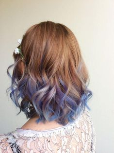 hair♡ short ombre hair color trends short haircuts ideas, ombre color, hair styles When Your L Hair Dye Colors, Ombre Hair Color, Cool Hair Color, Purple Hair, Blue Ombre, Periwinkle Hair, Short Ombre, Blue Tips Hair, Two Color Hair