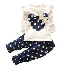 2016 New kids clothes girl baby long rabbit sleeve cotton Minnie casual suits baby clothing retail children suits Free shipping #>=#>=#>=#>=#> Click on the pin to check out discount price, color, size, shipping, etc. Save and like it!
