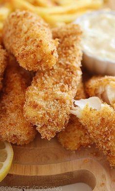 Crispy Baked Fish Sticks with Tartar Sauce