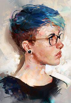 """Color Study"" - Aaron Griffin {figurative art female head eyeglasses profile woman face digital painting #2good2btrue} aarongriffinart.deviantart.com"