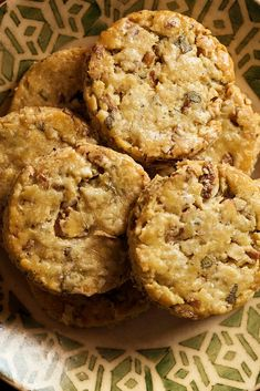 NYT Cooking: These little cookies are packed with savory flavors — black pepper, fresh sage and Parmesan — and are studded with chopped pecans. An ideal nibble with a glass of dry sherry or a cocktail, they are also welcome on a cheese board. Pecan Cookie Recipes, Pecan Cookies, Shortbread Cookies, Savoury Biscuits, Savoury Baking, Appetizer Recipes, Dessert Recipes, Holiday Appetizers, Appetizer Dishes
