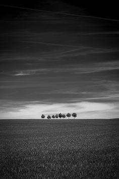 Eight trees on the horizon . no road --Michael McClintock Street Photography, Landscape Photography, Nature Photography, Black N White Images, Less Is More, Sky And Clouds, Photo Black, Great Photos, Black And White Photography