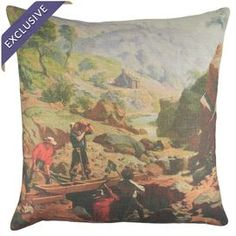 "Linen pillow with a landscape print. Handmade in the USA.  Product: PillowConstruction Material: LinenColor: MultiFeatures:  Handmade by TheWatsonShopEnvelope enclosureInsert includedMade in the USA Dimensions: 16"" x 16"" Cleaning and Care: Dry clean"