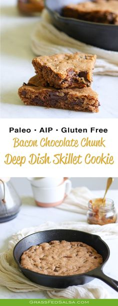 This Bacon Chocolate Chunk Deep Dish Skillet Cookie recipe is the number one indulgence I would indulge in if I could choose any dang food in the world to celebrate with. The cookie is #Paleo, #AIP, and #glutenfree. Plus, it's the most balanced dessert I can imagine - salty, sweet, creamy, and crispy. Get the recipe at Grass Fed Salsa.com