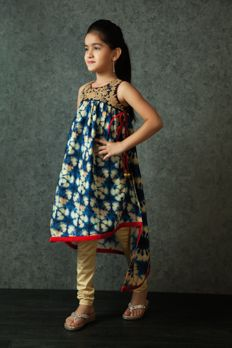 Printed chanderi kurti embellished with crosia and zari work from #Benzer #Benzerworld #kidswear