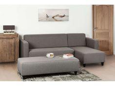 Canapé d'angle fixe 4 places avec banc HALY coloris gris - Vente de Canapé d'angle - Conforama