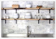 Finished kitchen wall with marble subway tile wood shelves Kitchen Shelves, Kitchen Decor, Kitchen Ideas, Navy Kitchen, Open Kitchen, Kitchen Styling, Kitchen Backsplash, Kitchen Design, Ideas Prácticas