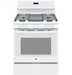 """PGB911DEJWW in White On White by GE Appliances in Hawthorne, NY - GE Profile Series 30"""" Free-Standing Gas Convection Range"""