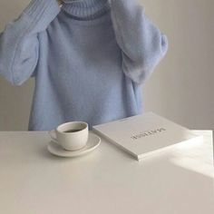 blue aesthetic jumper coffee milk tea book pastel light korean soft minimalistic kawaii cute g e o r g i a n a : a e s t h e t i c s