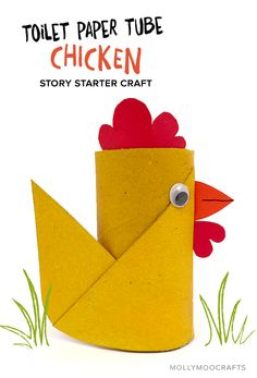 TP Roll Spring Chicken Enjoy making this TP Roll chicken, a story starter craft that is sure to spark some creative story writing. Toilet Roll Craft, Toilet Paper Roll Art, Rolled Paper Art, Toilet Paper Roll Crafts, Farm Animal Crafts, Farm Crafts, Easter Crafts For Kids, Diy For Kids, Chicken Crafts