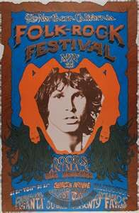 NORTHERN CALIFORNIA FOLK ROCK FESTIVAL.  Date: May 18-19, 1968  Artist: Carson Morris Studios  Venue: Santa Clara Fairgrounds    THE STORY BEHIND THE POSTER    The Northern California Folk Rock festival was held outdoors at the San Jose fairgrounds in the summer 1968 and featured all of the top rock bands of the day, including Big Brother and the Holding Company, the Doors, and Jefferson Airplane. The Grateful Dead also appeared, though they were not included on the posters.