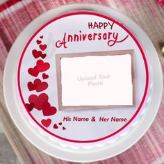 Upload Photo On Anniversary Cake With Name 1st Wedding Anniversary Wishes, Anniversary Cake With Photo, Anniversary Wishes For Friends, Happy Marriage Anniversary, Happy Anniversary Cakes, Anniversary Cards, Birthday Photo Frame, Birthday Photos, Baby Shower Photo Frame