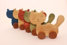 Cat Wooden Toys #cat #cats #toys #gift #present #handmade #catloversshopindie #wood #toddler #ecofriendly #handcarved #handpainted